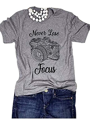 Never Lose Focus Shirt Women Camera Graphic Cute O-Neck Short Sleeve T-Shirt Top (Medium, Gray)