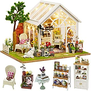 CUTEBEE Dollhouse Miniature with Furniture, DIY Dollhouse Kit Plus Dust Proof and Music Movement, 1:24 Scale Creative Room Idea(Sunshine Garden)