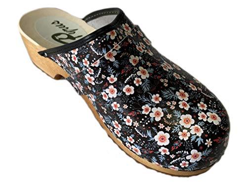GreenPyrus 064 Zuecos Zapatillas Zapatos de Cuero para Mujer, Flora, EU 38