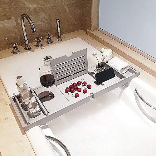 Uitschuifbare bamboe badkamerplank met verstelbare badplank, badkamerbladhouder, badbruggen met iPad/boekhouder en groef, wit (75-109cm),Type 2