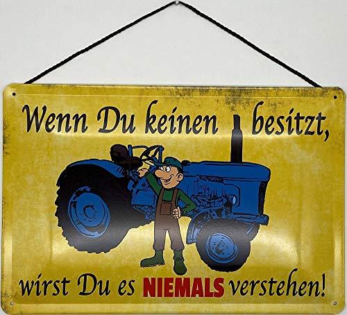 Blechschild Blechemma - Cordón de 30 x 20 cm, diseño de tractor con texto en alemán