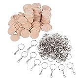 JZK 100 x Rodajas de círculos de madera 3.5 cm con agujeros y llaveros para manualidades, discos de madera para pirograbado favores banquetes boda regalo decoraciones para árboles de navidad