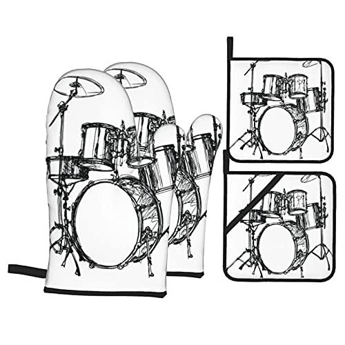 Juego de 4 Manoplas para Horno y Soportes para ollas,Kit de batería de música escalable,diseño de Dibujo de platillo Rock Jazz...