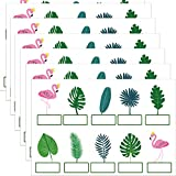 100 Name Tags for Desks,Classroom Decor,Tropical Palm Tree Leaf Flamingos Name Tag Stickers for Kids,Classroom Labels for Bulletin Board Decor Office Supplies,Educational and Learning Activities