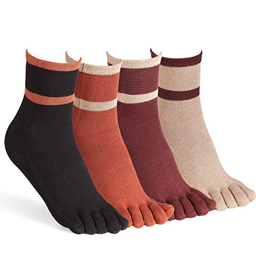 Women's Toe Socks for Running Cotton Five Finger Socks Athletic Walking 4 Pack