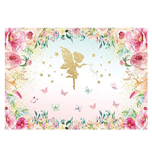 Funnytree 7X5ft Pink and Gold Floral Fairy Butterfly Party Backdrop Princess Flowers Girl Birthday Background Wonderland Tea Time Watercolor Baby Shower Decorations Photo Studio for Photography