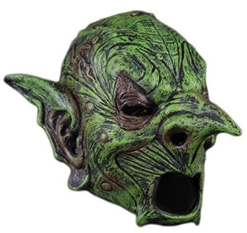 Máscara de demonio espeluznante para Halloween, disfraz de hada verde, máscara de látex, zombi, vampiro, demonio, demonio, decoración de máscaras
