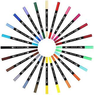 水彩毛筆 24色セット カラー筆ペン 両端ペン先 水彩筆 水彩ペン カラーペン 絵描き 塗り絵用 収納ケース付き