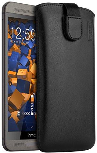 mumbi Echt Ledertasche kompatibel mit HTC One M9 Plus Hülle Leder Tasche Case Wallet, schwarz