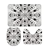 Yilooom 3-Piece of Non Slip Bath Rugs Set Including Bathroom Mat Contour Mat Toilet Lid Cover Home Doormat 20 X 32 Inch, White and Black Boho Pattern