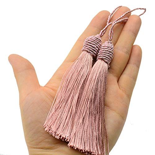 Makhry 20pcs 15.5cm/6 Inch Silky Floss Bookmark Tassels with 2-Inch Cord Loop and Small Chinese Knot for Jewelry Making, Souvenir, Bookmarks, DIY Craft Accessory (Peach Pink)