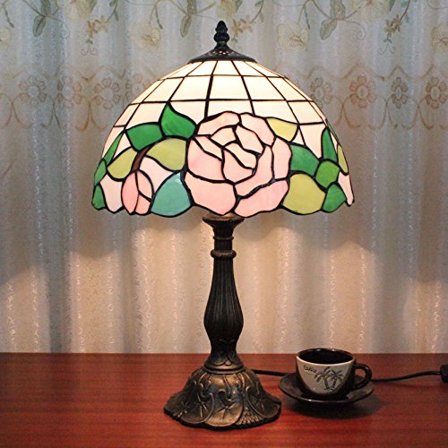 12 pouces Vintage Pastoral Pink Rose Vitrail Tiffany Style Lampe de table Lampe de chambre Lampe de chevet