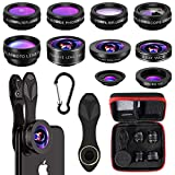 Merisny Kit Objectif Smartphone, 10 en 1 kit Objectif Universel, Fisheye, Macro, Wide Angle, Kaléidoscope, Flux, Star, CPL, Telephoto Filtre, pour iPhone Samsung Huawei Android