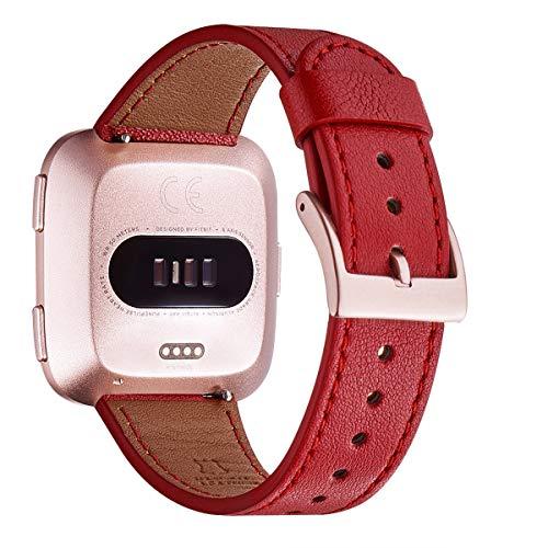 WFEAGL für Fitbit Versa Armband,Top Grain Lederband Ersatzband mit Edelstahl-Verschluss für Fitbit Versa/Versa 2 /Versa Lite/Versa SE Fitness Smart Watch(Rot+Roségold Schnalle)