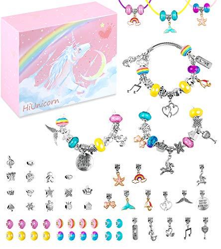 HiUnicorn Schmuckherstellung Set mit rosa Einhorn Geschenkbox für Mädchen Teenager, Silber Armbänder Halsketten Süße Pferdezauber Regenbogen Perlen DIY Bastelbedarf Sets für Geburtstag Weihnachten