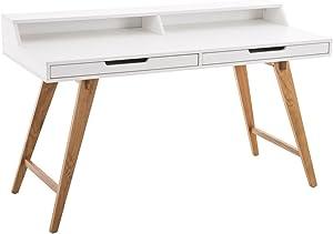 CLP Holz-Schreibtisch Eaton mit robustem Eichenholzgestell I Bürotisch mit 2 Schubladen und großer Arbeitsfläche I In verschiedenen Größen erhältlich 140 x 60 cm