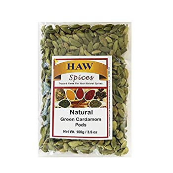 Haw Green Cardamom Pods 100 Grams  Natural Whole Cardamom Pods 3.5 Ounces  Natural Spice Cardamom for Biryani Tea Coffee and Natural Aroma