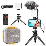 USKEYVISION Smartphone Vlogging Microphone Light Kit for Video Youtuber Creator Kit w/Video Light Microphone Tripod Smartphone Holder Premium Case Bag(VLOG K2)