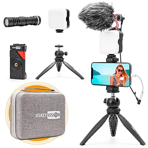 USKEYVISION Smartphone Vlogging Microphone Light Kit for Video Youtuber Creator Kit w/Video Light...