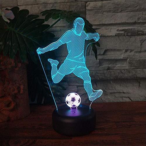 Lámpara de mesa 3D, luz nocturna LED, jugador de fútbol universitario, decoración acrílica multicolor, regalo para la habitación de los niños