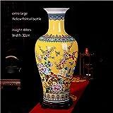 HPYR Grand vase en céramique à poser au sol, composition florale chinoise, moderne pour salon, cabinet, décoration TV, idéal pour séjour/salle à manger/studio/chambre à coucher Large 14