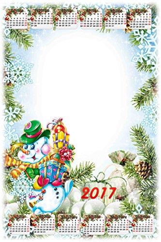 Calendario Personalizado 2017con 1foto, Art.128, Tamaño 30x 45completo de encuadernar y Gancino de pared