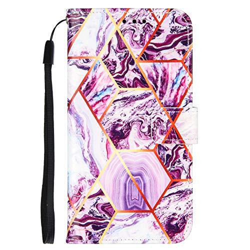 TYWZ Case Coque pour Xiaomi Redmi Note 10 Pro Marbre,Géométrique Marble Housse Étui Portefeuille en Cuir PU avec Slot pour Carte de crédit magnétique Flip Cover-Violet