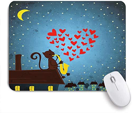 Aliciga Gaming Mouse Pad Rutschfeste Gummibasis,mit Nachthimmel Katze und Saxophon,für Computer Laptop Office Desk,240 x 200mm
