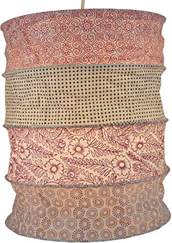 Guru-Shop Runde Papier Hängelampe, Lokta Papierlampenschirm Kailash, Handgeschöpftes Papier - Rosa/pastell, Lokta-Papier, 35x28x28 cm, Handgemachte Deckenleuchte