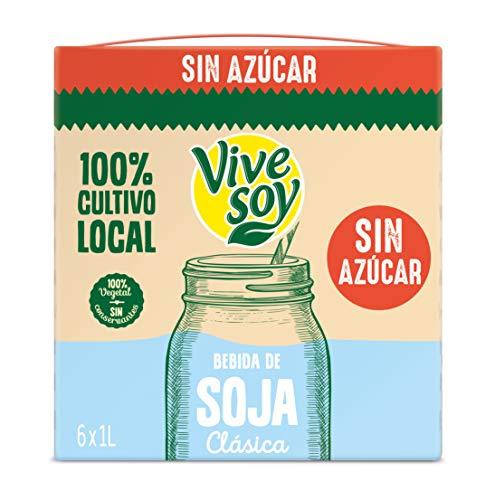 Vivesoy Bebida de Soja Natural sin Azúcar Pack, 6 x 1L