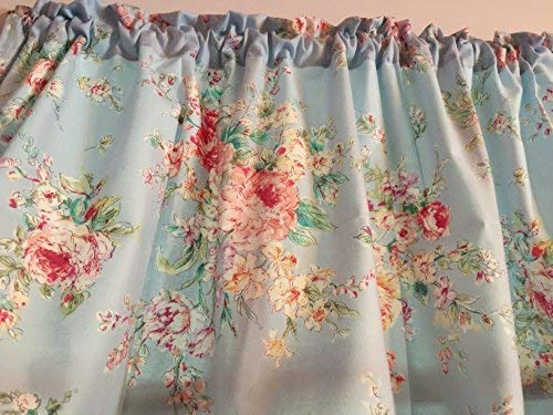 Powder Blue Shabby Chic Window Curtain Valance HandMade in The USA from Cotton FABRICCheck seller's Feedback Before Ordering for Authenticity