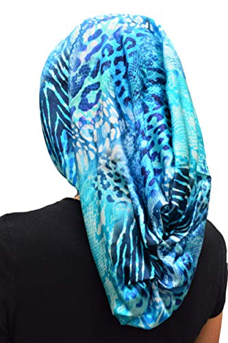 100% Mulberry Silk 18' Hair Wrap Scarf by Scarlett Rain (Long, MULBERRY SILK- (blue animal print))