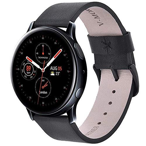 V-MORO Gear Sport Armband,Galaxy Watch 42mm Armband, Galaxy Watch Active 1&2 40mm 44mm,20mm Soft Leather Echtleder Ersatz SmartWatch Bracelet Uhrenarmband Kompatibel for Gear S2 Classic