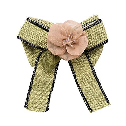 ZHBSS Europa y los Estados Unidos Gran Broche de Lazo, Tela Floral de Encaje Femenina Broche Pajarita 12 * 10 cm Verde