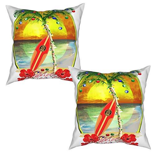 Pack de 2 Fundas de Almohada,Tabla de Surf Mele Kalikimaka,Funda de Cojín Cuadrado de Protectora de Almohada para Sofá Cama Decoración del Hogar (50x50cm) x2