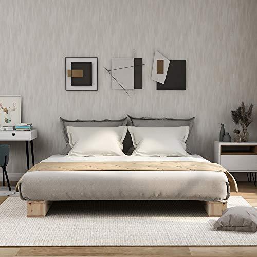 Merax Hochwertiger Holzbettrahmen aus Holz, Plattformbett mit starker Lamellenstütze, Naturholz, (90 x 200 cm)