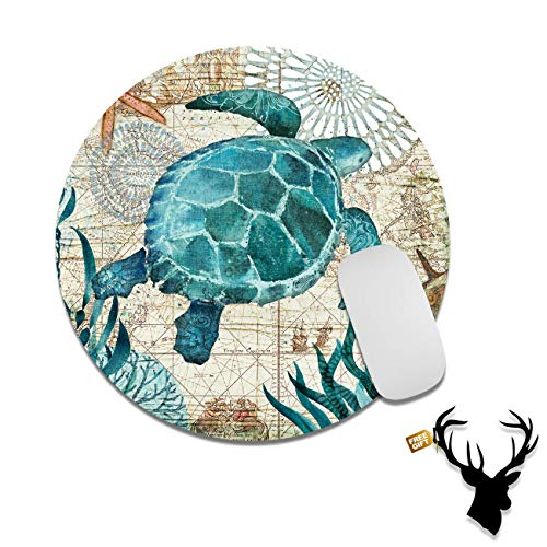 Gaming Mouse Pad Mat Baby Sea Turtle Mousepads with Cute Stickers Non-Slip Rubber Base Round Mouse Pads for Laptop Compute Working Home Office Accessories