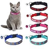 Collar de Gato Bordado Personalizado, número de teléfono de Nombre Personalizado en Collares de Gato de Nailon con Hebilla para Gato Grande niño y niña