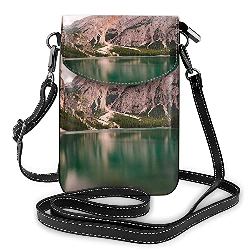 Bokueay Lac et chalet en bois impression petit sac à main pour téléphone portable, petit sac à bandoulière Mini sac à bandoulière pour téléphone portable