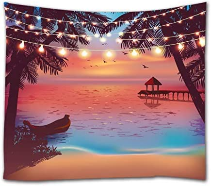 Tropical Beach Tapestry Ocean Seaside At Sunset Evening With Color Light Design Tapestries Wall Hanging For Bedroom Living Room Dorm Wall Decor 80 Inch By 60 Inch Colorful Everything Else