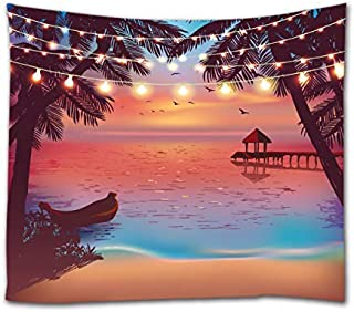Ihome888 Tropical Beach Tapestry,Ocean Seaside at Sunset Evening with Color Light Design Tapestries Wall Hanging for Bedroom Living Room Dorm Wall Decor, 80 Inch by 60 Inch, Colorful