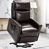 Bonzy Home Power Lift Recliner Chair for Elderly with Remote, 3 Position & Side Pocket, Faux Leather Reclining Chair Home Theater Seating-Brown
