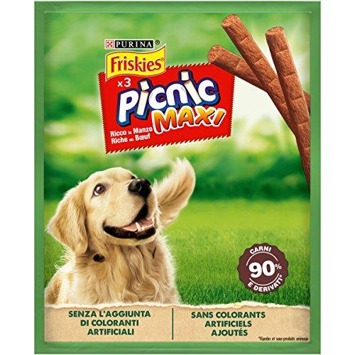 Purina Friskies Picnic Maxi Cane Snack Ricco in Manzo, 18 Confezioni da 45 g Ciascuna