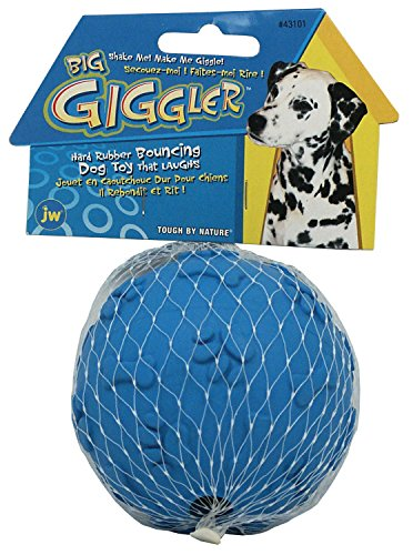 JW Big Giggler Nontoxic Hard Rubber Dog Ball for Strong Chewers, Assorted Colors