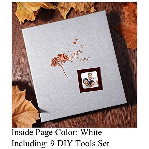 ZHAOXIANGXIANG Tipo Sticky Photo Album Incluye 9 Herramientas De Bricolaje Artesanal Vida Álbumes De Recuerdos De Memoria Viscosa, Álbum De Fotos con Cubierta De Cuero PU,3