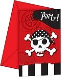 Generique - 6 Tarjetas de invitación con Sobres Mapa del Tesoro Pirata
