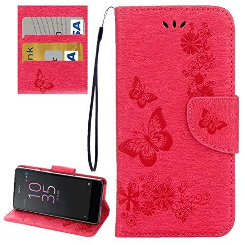 Liaoxig Fundas Sony para Sony Xperia E5 Mariposas en Relieve Horizontal Flip Funda de Cuero con Soporte y Ranuras para Tarjetas y Billetera y cordón Fundas Sony (Color : Red)