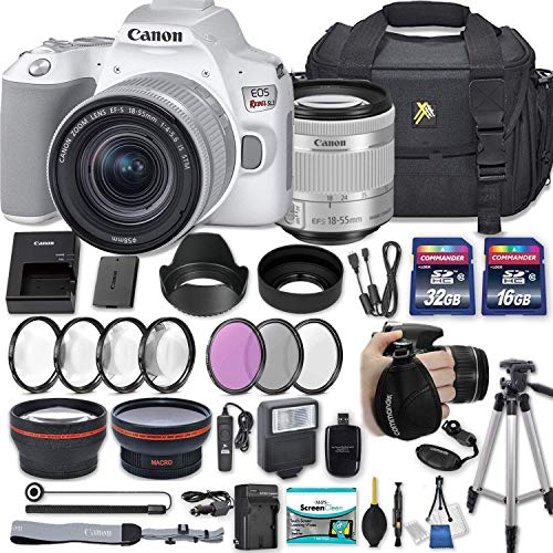 "Canon EOS Rebel SL3 DSLR Camera (White) with EF-S 18-55mm f/4-5.6 is STM Lens + 2 Memory Cards + 2 Auxiliary Lenses + HD Filters + 50"" Tripod + Premium Accessories Bundle (24 Items)"