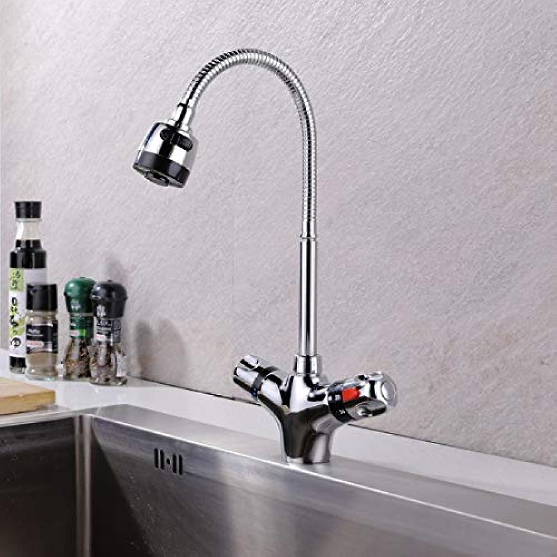 SLTYSCF wasserhahn Küchen-Mischbatterie aus massivem Messing verchromt Kalt- und Warmwasser-Thermostatarmatur Konstanter Temperaturmischer-Beckenhahn