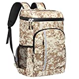 SEEHONOR Insulated Cooler Backpack Leakproof Soft Cooler Bag Lightweight Backpack with Cooler for Lunch Picnic Hiking Camping Beach Park Day Trips, 30 Cans (Camouflage)